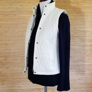 Talbots Ivory Quilted sweater vest w snaps/zipper